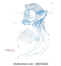 Watercolor vector jellyfish