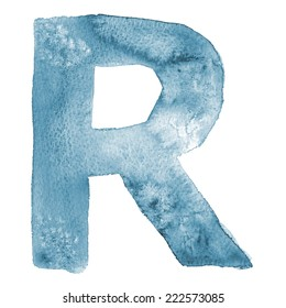 Watercolor vector letter R