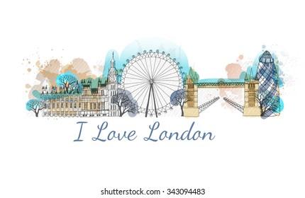 Watercolor vector London landmark