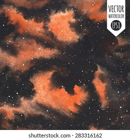 Watercolor vector night sky with stars and orange stains. Fantastic abstract background. Galaxy or universe hand drawn illustration. Stars are removable.