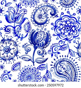 Watercolor vector paisley pattern. Light indian batik. Drawn blue stylized flowers and paisley on the white background. Floral paisley wallpaper. Design for fabric, textile, cover, wrapping paper, web