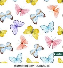 watercolor vector pattern with beautiful butterflies, seamless wallpaper