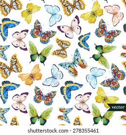 watercolor vector pattern with beautiful butterflies