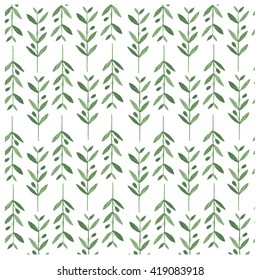 Watercolor vector pattern with olive branches. Illustration on white background. Nature and Organic concept. Natural product.