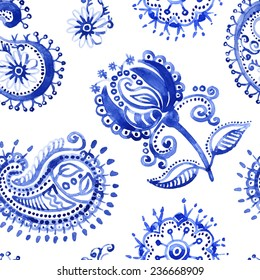 Watercolor vector pattern in Paisley style