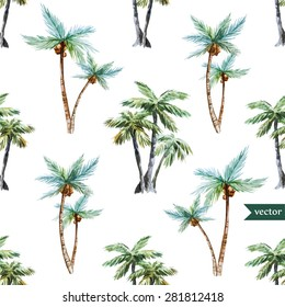 watercolor vector pattern tropical, palm trees