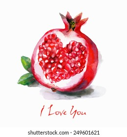 Watercolor  vector postcard with a heart in a  pomegranate. Hand drawn fruit. You can use other simple text