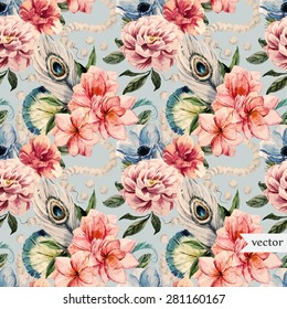 watercolor vector retro pattern, peony flowers, peacock feathers and beads