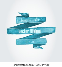 Watercolor vector ribbon and banner for text.