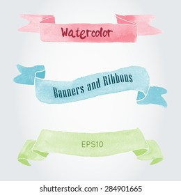 Watercolor vector ribbons and banners for text. Collection of Watercolor design elements, backgrounds, labels and ribbons . Hand drawn abstract colorful stripes.