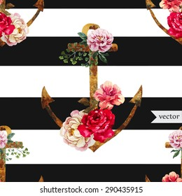 watercolor vector seamless pattern, anchored with a flower on a background of black and white stripes fashion background