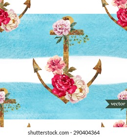 watercolor vector seamless pattern, colorful pattern with blue stripes, anchor, flowers