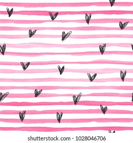 Watercolor vector seamless pattern with pink horizontal stripes amd black hand drawn hearts on a white background. Hand-painted lines, texture for packaging, wedding, birthday, scrapbooking