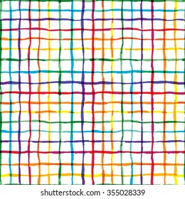 Watercolor vector seamless plaid pattern. Allover pattern with ink grunge grid. Graphic background with ethnic tartan.