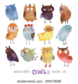 Watercolor vector set. Funny owls
