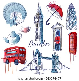 Watercolor vector set of London landmark