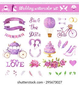 Watercolor vector set. Love design elements isolated. Save the date card. Wedding invitation card template. Wedding set, hearts, wreaths, ribbons, cake, coach, balloon, ring, bicycle and labels.