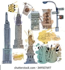 Watercolor vector set of New York landmarks