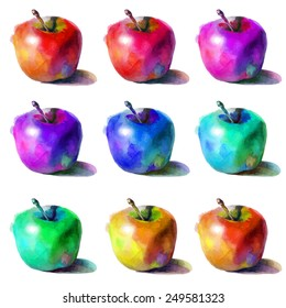 Watercolor vector set with rainbow apples. Hand drawn illustration