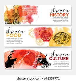 Watercolor vector set of Spain banners