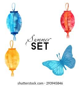 watercolor vector set of summer elements