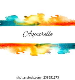 Watercolor vector splash background. Colorful vector background. Watercolor texture. Vector handmade elements. Vintage background. Orange and blue  blot. Sign board. Watercolor stamp.