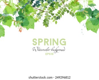 Watercolor vector spring background