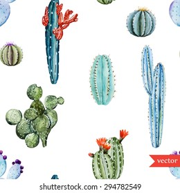 watercolor vector tropical cactus pattern, set of different cactus