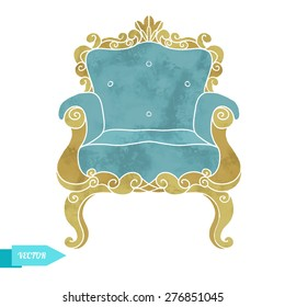 Watercolor vector vintage furniture, armchair, throne front view closeup isolated on white background