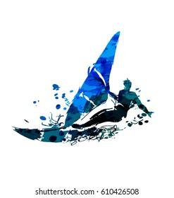 Watercolor vector windsurfer