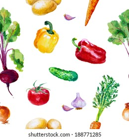 Watercolor vegetable seamless pattern on white background. Beetroot, carrot, cucumber, tomato, onion, garlic, potato, bell peppers. Vector illustration.