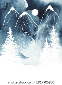 Watercolor vertical vector oriental landscape in blue and white colors. Sketch of a mountains, river and spruces under night sky with moon. Hand drawn illustration