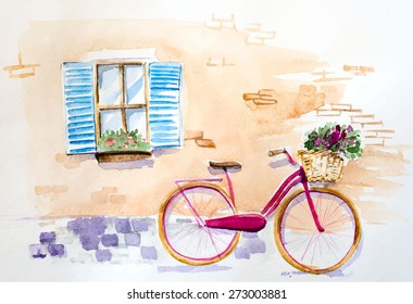 Watercolor vintage bicycle under window
