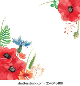 Watercolor vintage card background with field flowers and herbs. hand painted poppy, cornflower, spikelet, horsetail field, buttercup, grass and leaves. Vector floral frame.