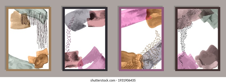 Watercolor vintage covers vector set. Watercolor smudges shapes. 60s style frames. Cool office poster layouts. Brush stroke elements.