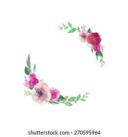 Watercolor vintage flowers frame. Hand painted wreath with posy roses, ranunculus, anemones, leaves and floral elements. Vector greeting design