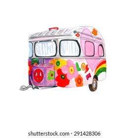 Watercolor Vintage Hippie Camper Trailer with a painted peace sign & flowers, isolated on white background. Vector Element for your design. Watercolor texture. Used as postcard, invitation & poster.