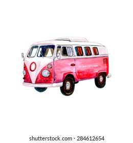Watercolor Vintage Hippie Camper Van, isolated on white background. Retro vector illustration. Vector Element for your design. Watercolor texture.  Used as postcard, invitation & poster.