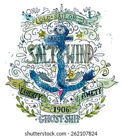 Watercolor vintage label with an anchor. The watercolor and ink drawings are two different layers.