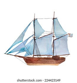 Watercolor vintage schooner. Hand drawn vector illustration about sea transport.