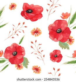 Watercolor vintage seamless background with field flowers and herbs. Pattern with hand painted poppy, cornflower, spikelet, horsetail field, buttercup, grass and leaves. Vector floral texture.