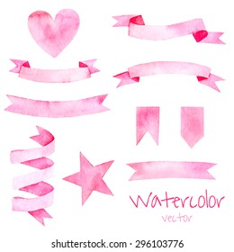 Watercolor vintage set of elements and ribbons in pink color. Hand drawn isolated objects for romantic or wedding design.