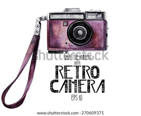 Camera Vintage Vector Free : Watercolor vintage slr camera pink body stock vector royalty free