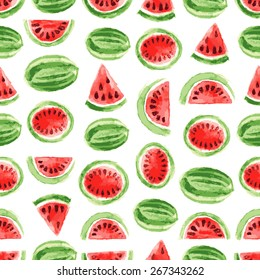 Watercolor watermelon pattern. Vector illustration for your design
