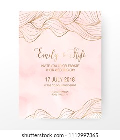 Watercolor wedding invitation card with gold wave border.