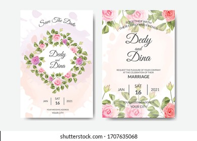 watercolor wedding invitation card with rose shape on white background