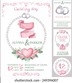 Watercolor wedding  invitation card set with floral group of pink roses.Cute vintage elements,swirls,wreaths,hearts,rings,pearls,arrows.Hand drawing painting.Vector