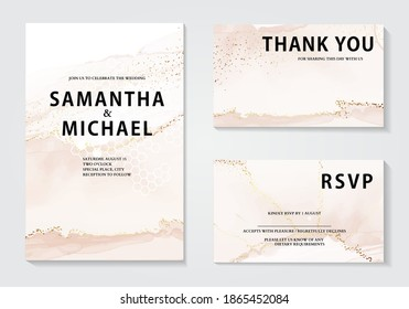 Watercolor wedding invitation set, elegant gold foil rustic design. Bridal shower. Bohemian anniversary greeting, holiday season graphics.  Party invite, custom cards, rsvp responce card pink  beige
