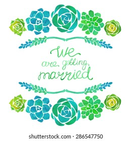 Watercolor wedding invitation with succulent