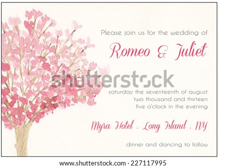 watercolor wedding invitation template pink cherry stock vector